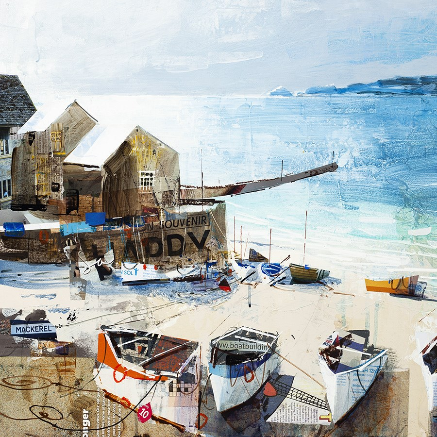 Reflections, Sennen Cove by Tom Butler - Hand Finished Limited Edition on Paper sized 16x16 inches. Available from Whitewall Galleries
